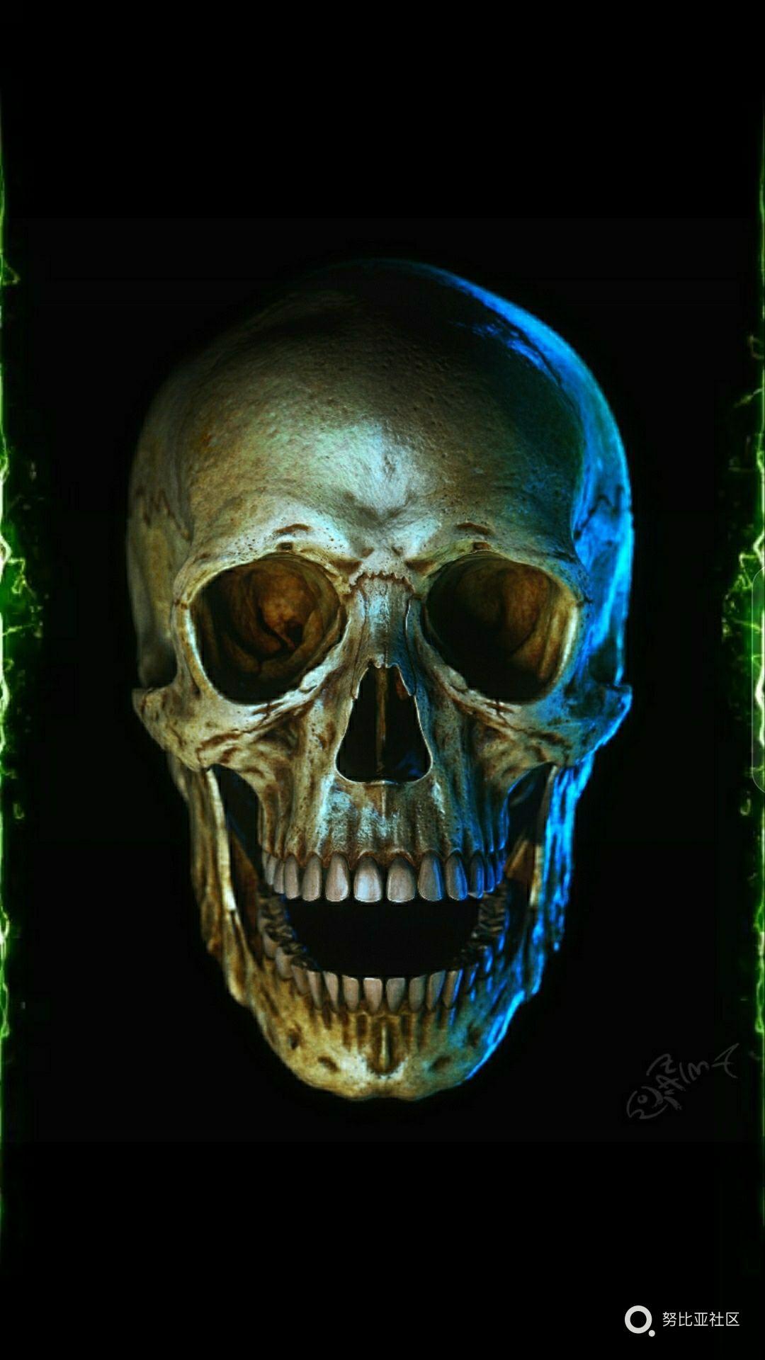 边缘发光壁纸,骷髅头-无边框z17-牛仔俱乐部-努比亚